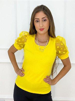 Blusa Canelada Manga Bufante Amarela