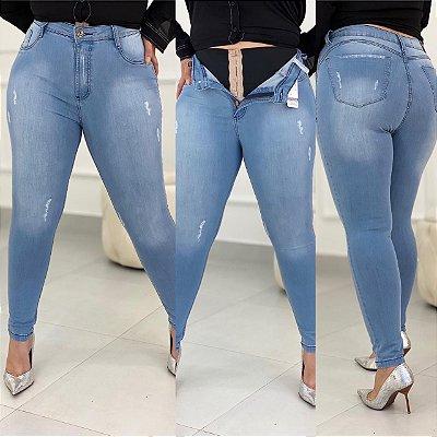 Calça Jeans Desfiadinhos Com Cinta