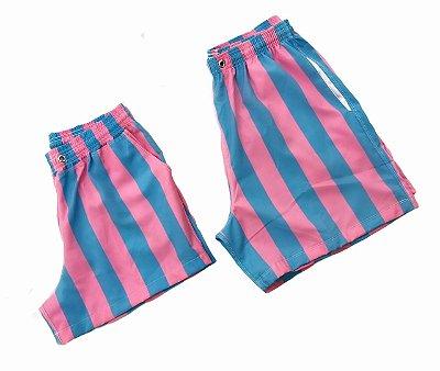 Short Mauricinho MASCULINO Listras Azul e Rosa