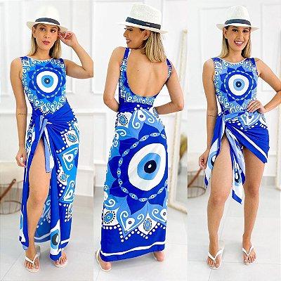 Conjunto Body E Saída Estampa Mandala Azul