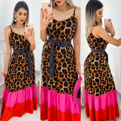 Vestido Longo Animal Print Colors Com Cinto
