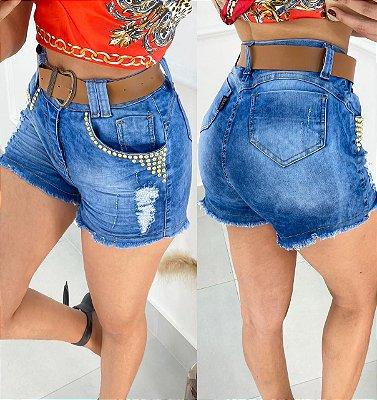 Short Jeans Premium Spikes com Cinto