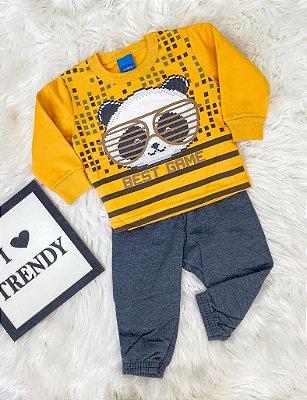 INFANTIL/BABY - Conjunto Moletom Amarelo Panda