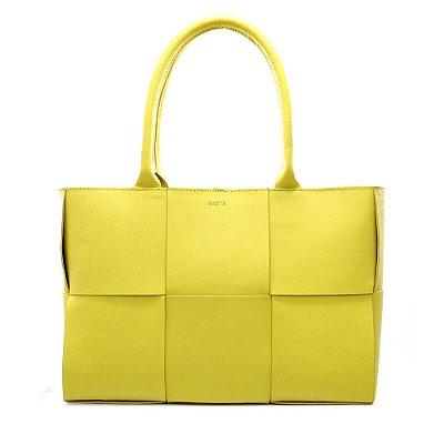 Bolsa Feminina PPOETA Trissê Couro Amarelo