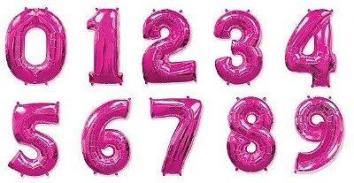 Balão Metalizado Numérico Rosa