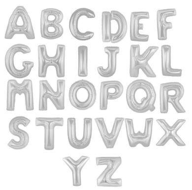 Balão Metalizado Alfabeto Prata M