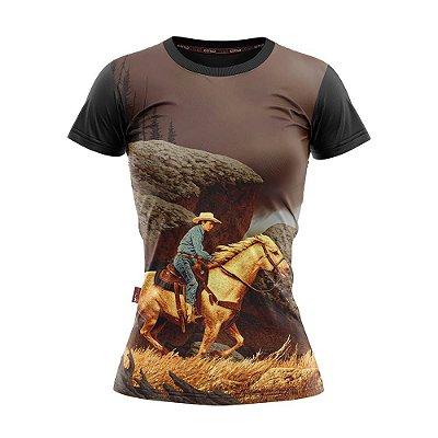 Camiseta Baby Look Cowgirl Cavaleiro