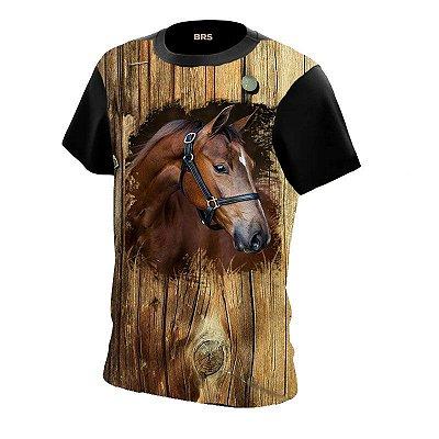 Camiseta Country Cowboy Cowgirl Rosto Cavalo Marrom