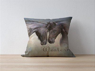 Capa de Almofada Country Western Horses