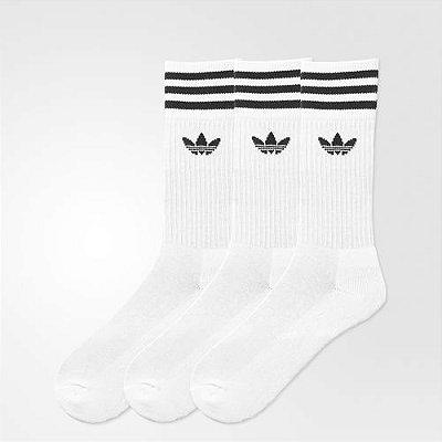 Meia Adidas Cano Alto Branca (3 pares)