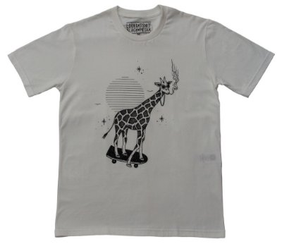 Camiseta - LookDatShit X Black Media - Girafa Off White