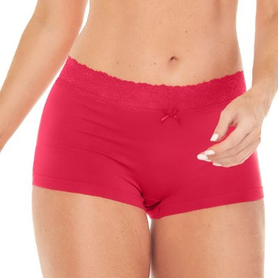 Calcinha Boxer Sweet Lace Vermelho Hibisco