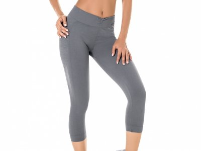 Calça Corsário Fitness Sem Costura Cinza