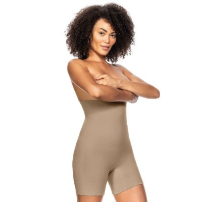Bermuda Modeladora Alta Sem Costura Bege