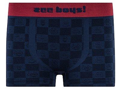 Cueca Boxer Infantil Fun Checkerboard Azul