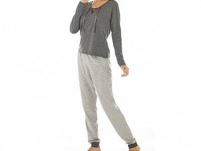 Conjunto Blusa Mescla Manga Longa e Calça Estampada