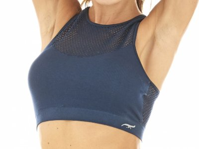 Top Fitness Croche Com Bojo Sem Costura Azul Navy