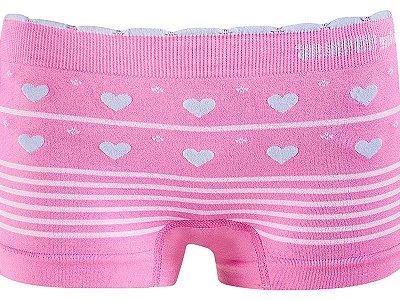 Calcinha Boxer Infantil Love Sem Costura Rosa