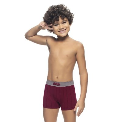 Cueca Boxer Infantil Jacquard Sem Costura Bordo