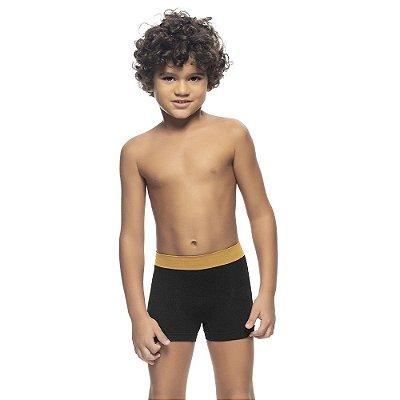 Cueca Boxer Infantil Jacquard Sem Costura Preto