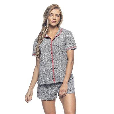 Pijama Blusa com Botões e Short Heart Print