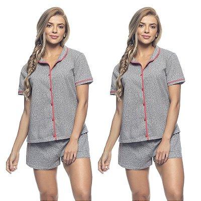 Kit 2 Pijamas Abertos e Shorts Heart Print