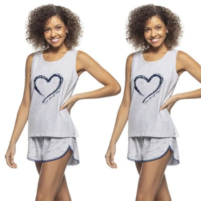 Kit 2 Pijamas Regata e Short Love