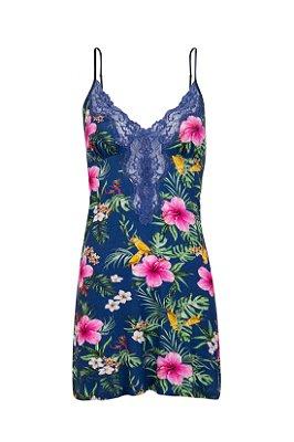 Camisola Floral Malha Azul