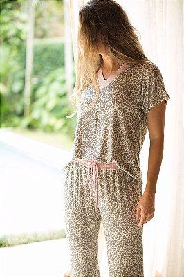 Pijama Manga Curta Onça