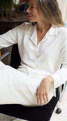 Pijama Manga Longa Off White