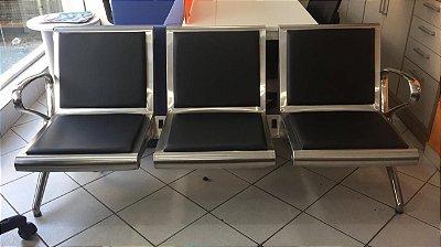 Longarina Aeroporto INOX C/ OPÇÃO DE TOMADAS