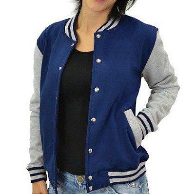 a5e35b79f2b1 Jaqueta College Feminina Lisa Básica Azul Marinho - Jaquetas Colegial  Americana Universitária