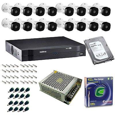 Kit DVR 16 Canais Intelbras + 16 Cameras Bullet VHL 1120B + Fonte + Cabo + Acessórios + HD 1TB