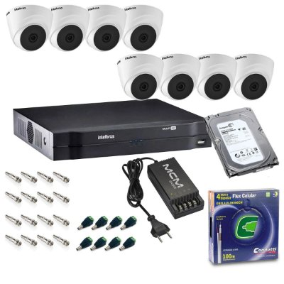 Kit DVR 8 Canais Intelbras + 8 Cameras Dome VHL 1120D + Fonte + Cabo + Acessórios + HD 1TB