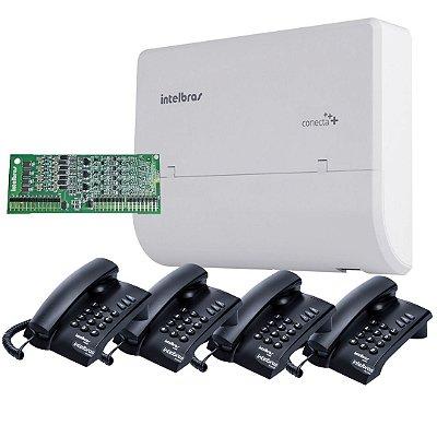 Central Pabx 2X4 Conecta Mais + Placa 4 Ramais Modulare Mais + Telefone Pleno com Fio  - Intelbras