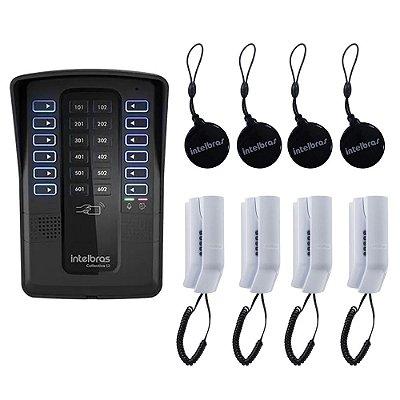 Kit para Condominio Interfone Collective 12 + 4 Terminais Telefone + 4 Tags para Abertura - Intelbras
