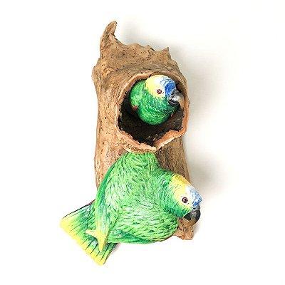 Escultura de Parede - Papagaios no tronco
