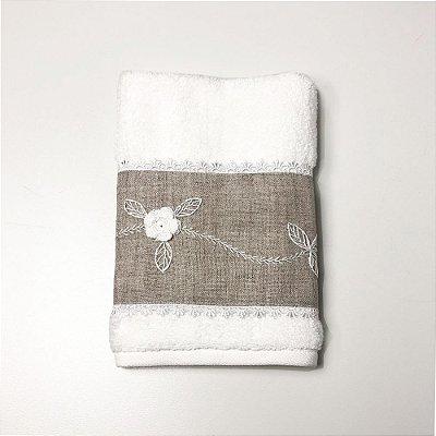 Toalha para Lavabo Flores Brancas