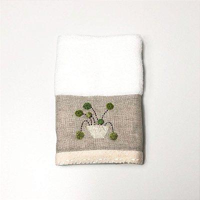 Toalha para Lavabo - Flores Verdes