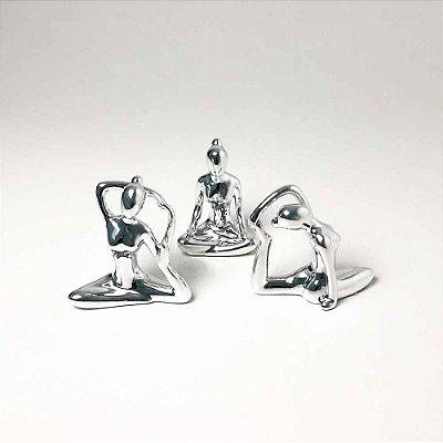 Kit Esculturas Yoga Prata em Porcelana