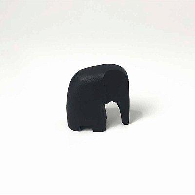 Escultura Elefante em Poliresina Preto Pequeno