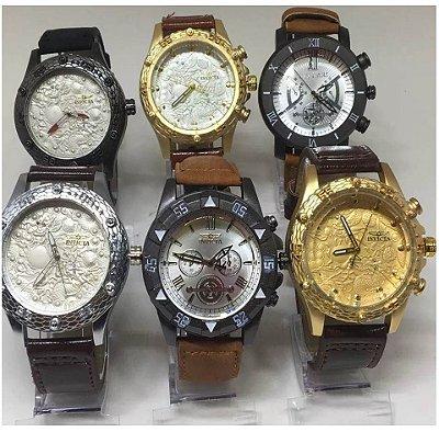 Kit 10 Relógios Masculinos Pulseira Couro + Caixas Acrílico