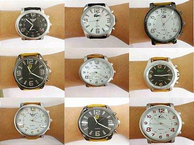 Kit 10 Relógios Masc Pulseira Couro + Caixinhas de Acrílico
