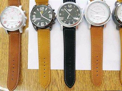 Kit 05 Relógios Couro Com Caixinha Modelos Grandes