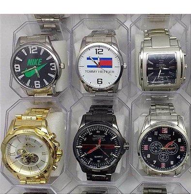 Kit 05 Relógios Masculinos Pulseira Aço + Caixas de Acrílico