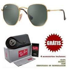 Óculos Ray ban Hexagonal Preto e Dourado