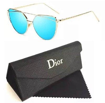 Óculos Dior Feminino Azul Espelhado
