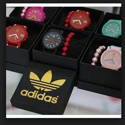 Kit 05 Relógios Adidas Colors Com Pulseira e Caixa da Marca