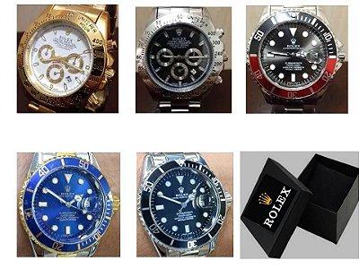 Kit 05 Relógios Rolex Submariner Gira Catraca A Prova D'agua