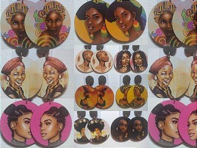 Kit 10 Brincos Afro em Mdf Estampados